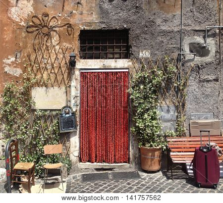 ROME,ITALY, MAY 29, 2013: front view of Sora Margherita Restaurant in the early afternoon, with an artsy exterior