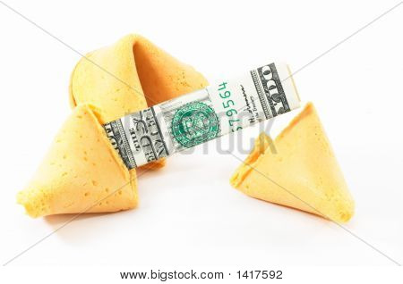 Chinese Fortune Cookie Open With Money, Cash, On White Backgrou