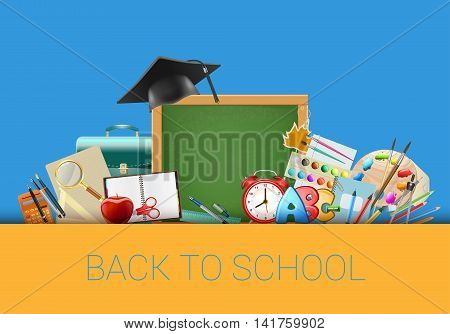 Back to school blue background with chalkboard graduation cap supplies education workplace accessories. vector illustration