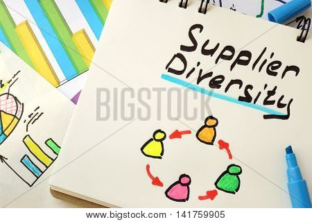 Sign supplier diversity on a page of notebook.