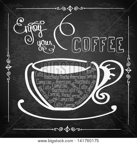Enjoy your coffee logo or background hand drawn letteringvector illustration