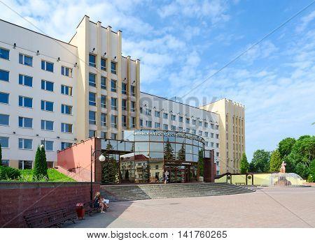 VITEBSK BELARUS - JULY 13 2016: Unidentified young university entrants are near building of Vitebsk State Order of Peoples' Friendship Medical University Belarus