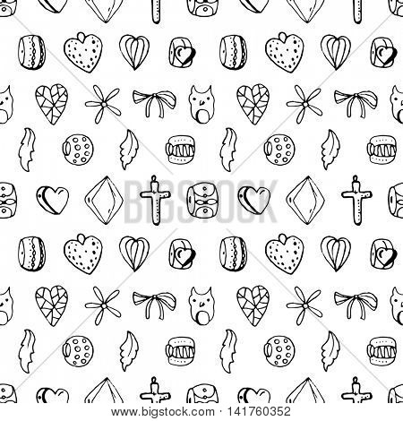 Seamless jewellery pattern with charms, beads, rings. Endless texture, white,black, monochrome
