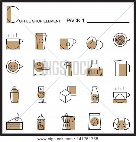 Coffee shop line icons.Color icons pack 1.Pictogram illustration.