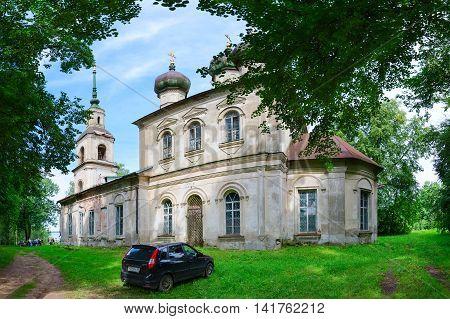 KALYAZIN RUSSIA - JULY 22 2016: Kalyazin Museum of Local Lore behalf of I.F. Nikolsky (former Epiphany Church)