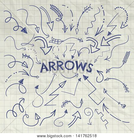 Set of Vector and Drawn Curved Arrow Shaped Elements. Pen Drawing Doodle Outlined Sketched Arrows, Pointers. Vector Illustration. Crumpled Notebook Paper Background Texture