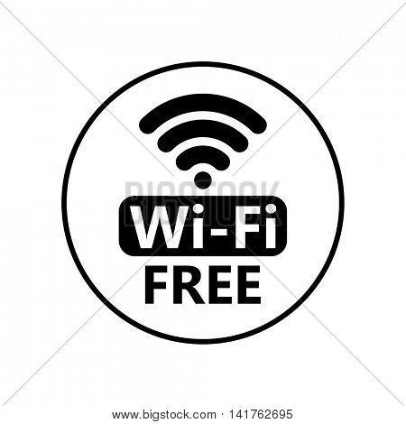 Free wifi icon symbol. Vector circle wifi sign sticker with frame. Network icon for free internet access
