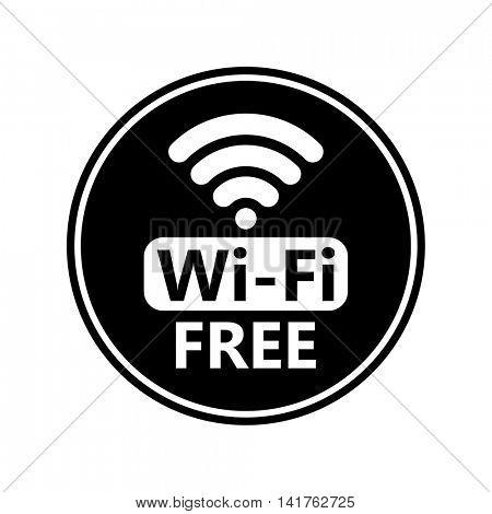 Free wifi icon sticker. Vector black wifi sign. Wireless Network icon for wlan free access design