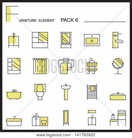 Furniture and home decorate line icons pack 6.Color outline icons.pictogram illustration.