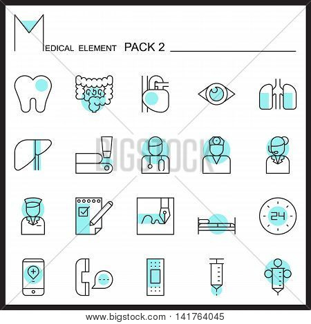 Medical line icons.Color outline icons pack 2.Pictogram set
