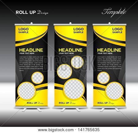 Yellow and black Roll Up Banner template vector illustration, roll up stand, banner design, advertisement display, flyer design