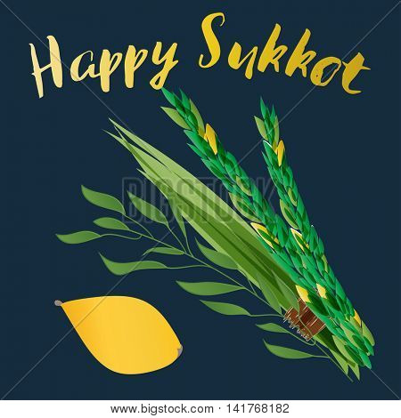 Happy sukkot card. Vector illustration of four species - palm, willow, myrtle , lemon - symbols of Jewish holiday Sukkot. Holiday of Sukkot illustration.