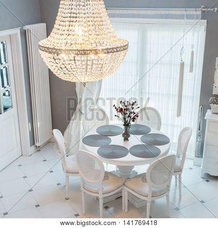Crystal Chandelier In Dinning Room