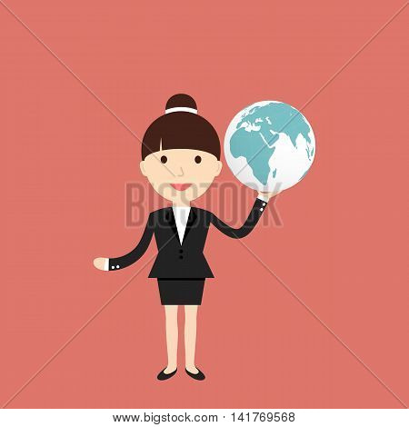 Business situation. Businesswoman holding a globe. Vector illustration.