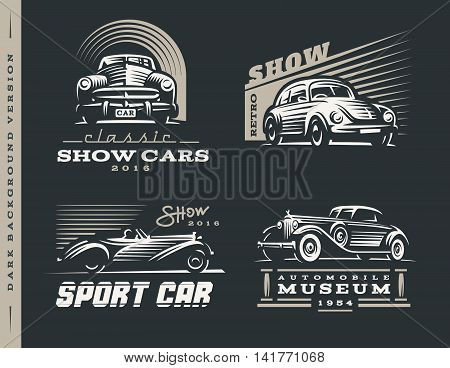 Classic car logos illustrations set on dark background.