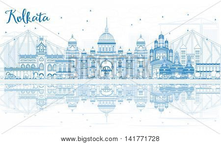Outline Kolkata Skyline with Blue Landmarks and Reflections. Vector Illustration. Business Travel and Tourism Concept with Historic Buildings. Image for Presentation Banner Placard and Web Site.