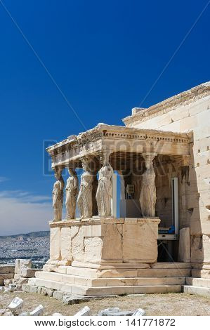 Six Caryatids or karyatides at Porch of the Erechtheion in Acropolis at Athens.