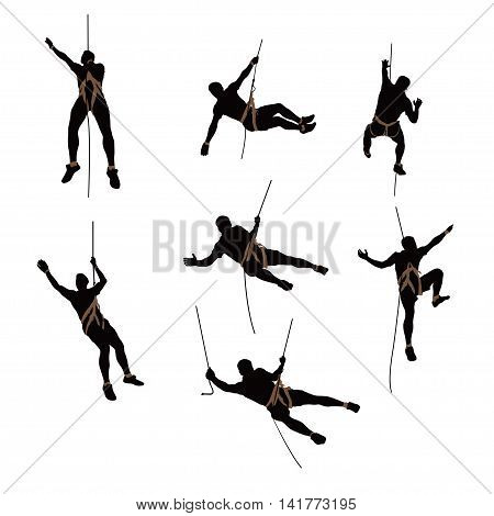 illustration of set of male rock climber silhouette isolated on white background