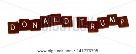 The words Donald Trump spelled out in scrabble letters