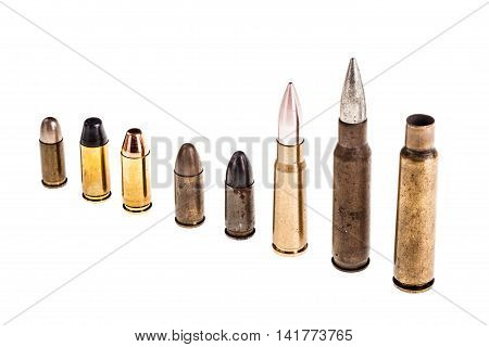 Various Bullets On White