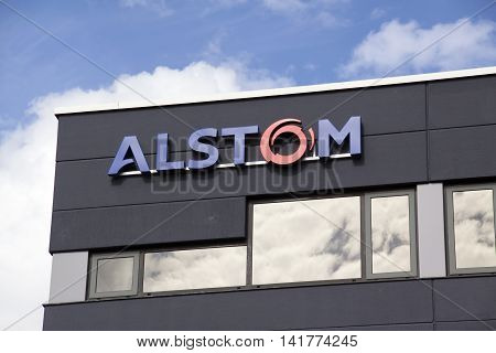 Amsterdam Netherlands-august 8 2016: facade of alstom Alstom is a multinational company which is mainly active in the field of energy and transport