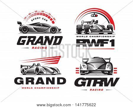 Sport cars logo set illustration on white background.