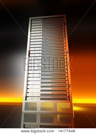 poster of 3D rendered Illustration. Image of a server tower.