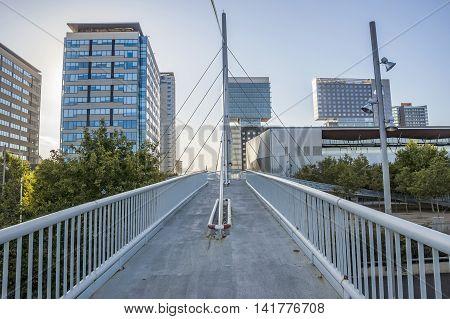 BARCELONA SPAIN - JULY 3 2016: New modern architecture in the Diagonal Mar i el Front Maritim del Poblenou area.