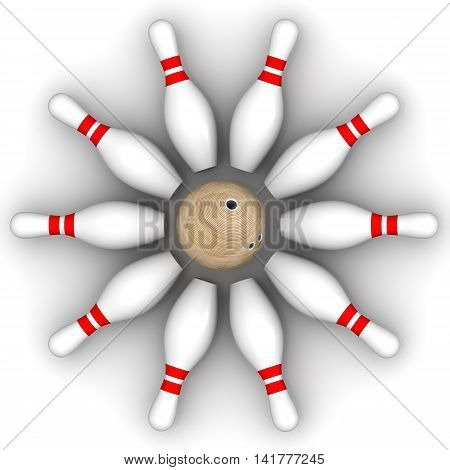 Bowling ball and skittles are on the white surface. Isolated. 3D Illustration