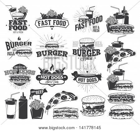Fast Food Label Logos and design elements