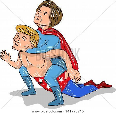 August 8, 2016: Illustration showing American president 2016 candidates Donald Trump and Hillary Clinton as a wrestler or luchero wrestling done in cartoon style.