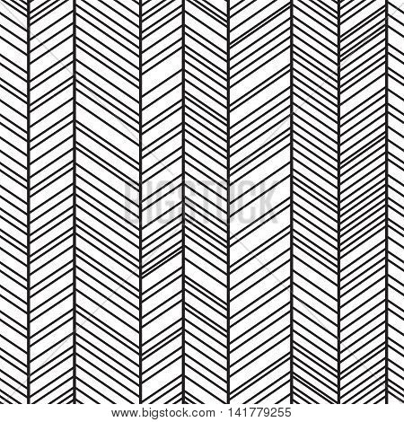 Trendy simple seamless many zig zag pattern - vector Illustration