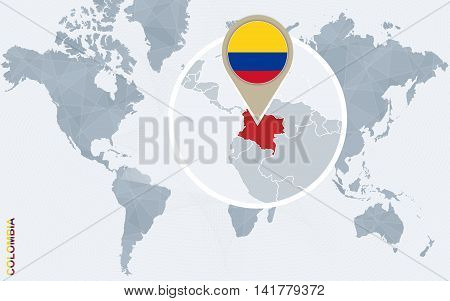 Abstract Blue World Map With Magnified Colombia.