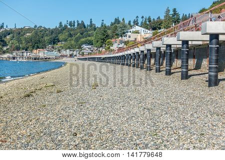 A view of the shoreline at Redondo Beach Washington.