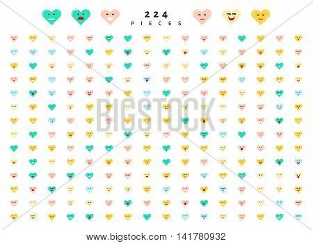 Great set of 224 color emotions isolated on white background. Character emoji for Web. Anger and compassion. Laughter, tears. Smile sadness surprise. Happiness fear.