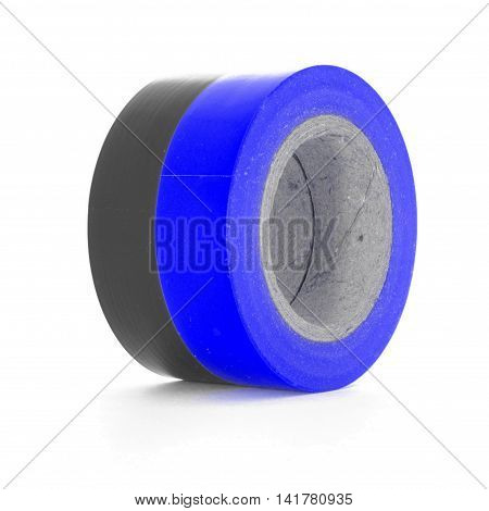 Protecting black blue insulation tape coils isolated on white background