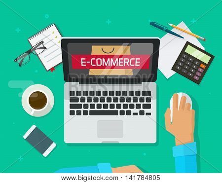 Person working on laptop computer analyzing e-commerce store technology vector illustration, flat developer working on office desktop, eCommerce analytics banner, online shopping marketing research