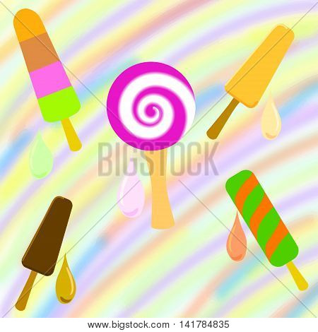 Set of colorful popsicle on a rainbow background. Vector illustration
