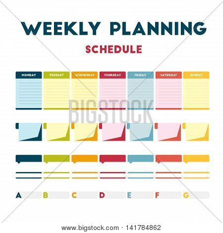 Flat design, colored paper calendar week. Diary personal training routine. Weekly calendar days. Vector element info graphic banner everyday.