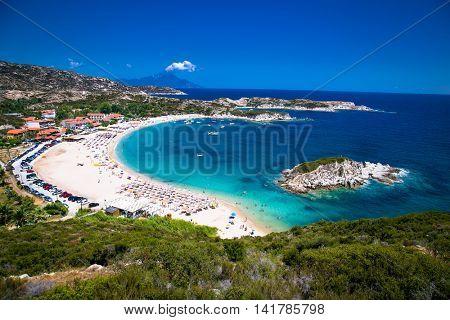 Beautiful Kalamitsii  beach on the east coast of Sithonia on Halkidiki, Greece.