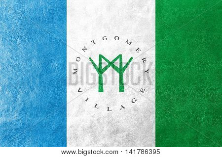 Flag Of Montgomery Village, Maryland, Usa, Painted On Leather Texture