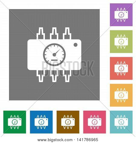 Chip tuning flat icon set on color square background.