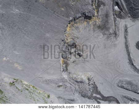 Degraded Landscape In South Of Poland. Destroyed Land. View From Above.
