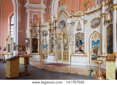 SAINT PETERSBURG, RUSSIA - AUGUST 04, 2016: Interior of Chesme Church (Church of St John the Baptist Chesme Palace). It was built by the Russian architect Yury Felten in 1780