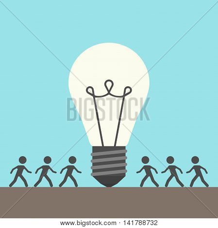 Many people walking around large glowing light bulb on blue background. Creative idea teamwork and business concept. Flat design. Vector illustration. EPS 8 no transparency