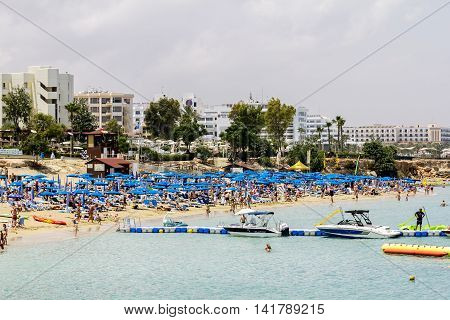 May 24 2016.Protaras.Hotels and beach at Fig tree Bay in Protaras .Cyprus.