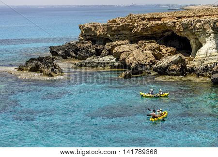 25 may 2016.Cape Greco. The rowers in the Bay at Cape Greco .Cyprus
