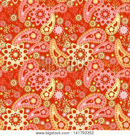 Seamless floral pattern with decorative elements print