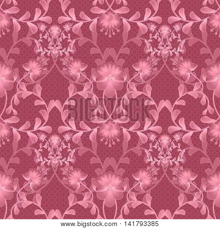 Floral seamless pattern with flowers texture gzhel on red background