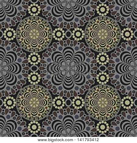 Seamless lace pattern print on black background